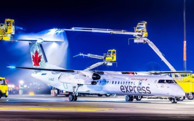 Air Canada Express Bombardier Dash-8 Q400 de-icing at Toronto Pearson International Airport. Photo submitted by Adam Tetzlaff (Instagram user @avop_photography) using hashtag #skiesmag