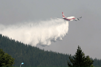 The Global SuperTanker drops water during one of its missions in Chile. Global SuperTanker Services Photo