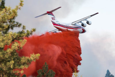 A BAE Systems regional aircraft drops flame retardant. BAE Systems Photo