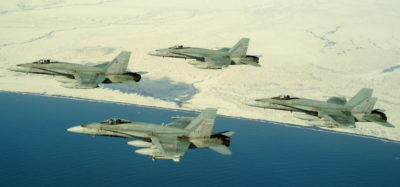 CF-18s fly over Iceland in April 2013 during Operation IGNITION, the last time that Canada provided fighters to the North Atlantic Treaty Organization (NATO) Airborne Surveillance and Interception Capabilities to meet Iceland's Peacetime Preparedness Needs, which is a NATO operation conducted to patrol Iceland's airspace. Cpl Pierre Habib Photo