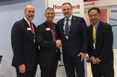 Pictured from left to right are: Rick Buchanan, senior director of RMU sales and acting senior director of commercial helicopter business for Honeywell; Rob Richardson, customer business manager for commercial helicopter and aftermarket partners for Honeywell; Tom Jackson, president of CanWest Aerospace Inc.; and Terence Lim, sales and marketing manager for CanWest Aerospace Inc. CanWest Aerospace Photo