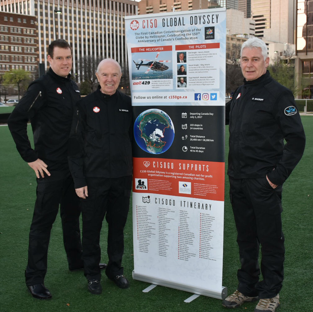 Steven Dengler, left stands with his father Bob and retired Bell Helicopter test pilot Rob Dugal MacDuff.