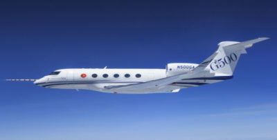 The G500 outfitted aircraft has flown more than 180 hours since its first flight Aug. 5, 2016. The other four flight-test aircraft have amassed more than 2,450 hours in the air. Gulfstream Photo