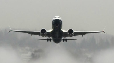 The U.S. Federal Aviation Administration has certified the 737 MAX 8 airplane for commercial service. The aircraft is seen here taking off over Lake Washington. Boeing Photo