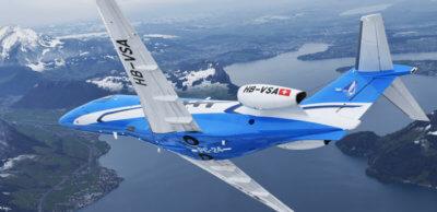 P03 in blue livery, in flight