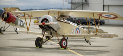 A Nieuport XI replica rests in Comox, B.C., prior to loading.