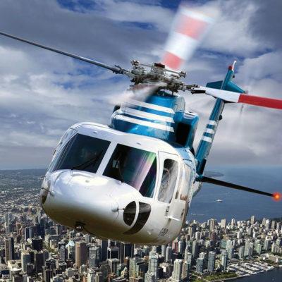 Helijet helicopter in flight