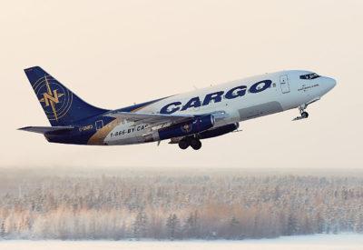 Nolinor plane in flight