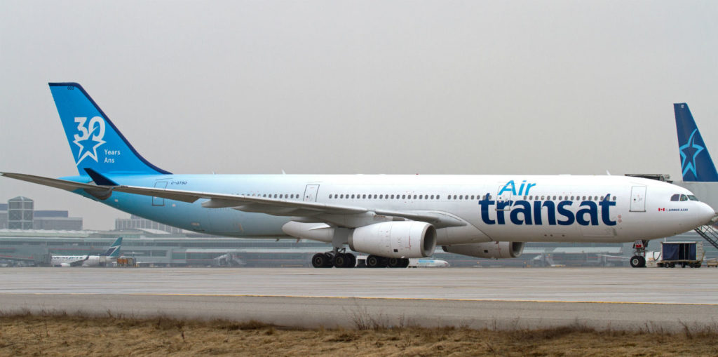 Air Transat Airbus A330-300 C-GTSO is seen parked between flights at Toronto's Pearson International Airport on March 27, 2017. Andy Cline Photo