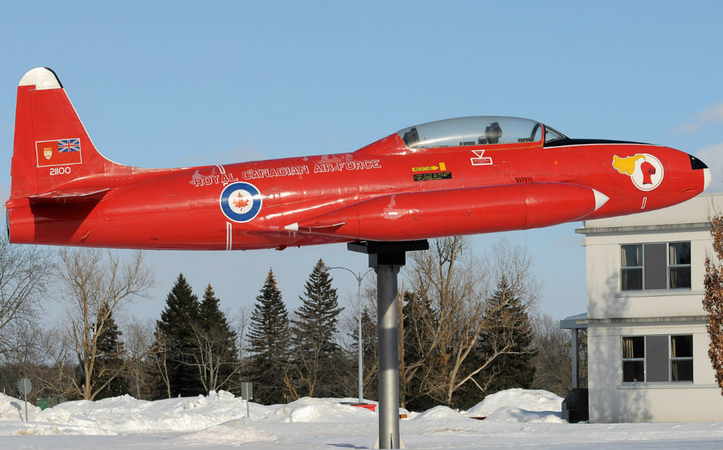 An RCAF Red Knight T-33 displayed at Base Borden. Eric Dumigan Photos