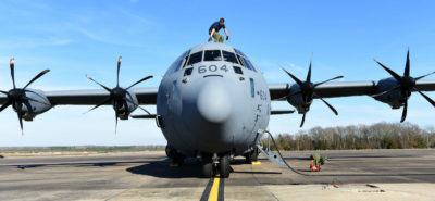 Cpl Julien Simard, a loadmaster from 436 Transport Squadron, performs his pre-flight checks on a CC-130J Hercules on Feb. 10, 2017, at Little Rock Air Force Base, Ark., during Exercise Green Flag Little Rock. USAF Photo