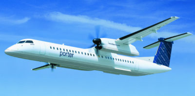 Porter Airlines exclusively flies Q400 airliners. Bombardier Photo