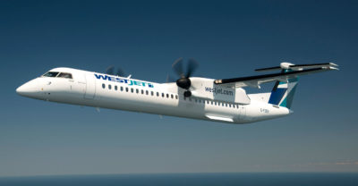 The new route will operate twice daily on WestJet Encore using its fleet of Canadian-made Bombardier Q400 NextGen aircraft. WestJet Photo
