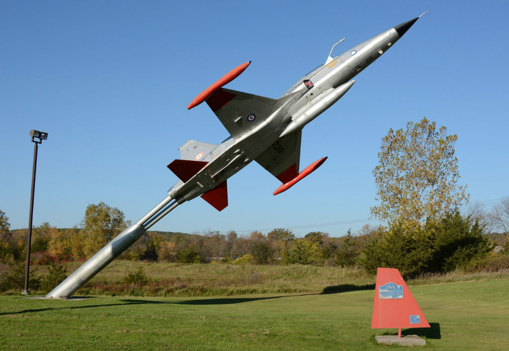 Canadian Armed Forces CF-116 Freedom Fighter displayed beside the 401 in Trenton Ont.
