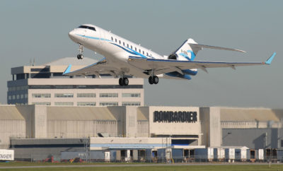 Speaking at the Bombardier Training Centre, Rudy Toering discussed the impact business aviation has on economic growth; generating a total of $10.7 billion annually, employing over 42,000 people and contributing three quarters of a billion dollars in taxes. Here, a Global 5000 pictured at Bombardier's Montreal plant. Eric Dumigan Photo