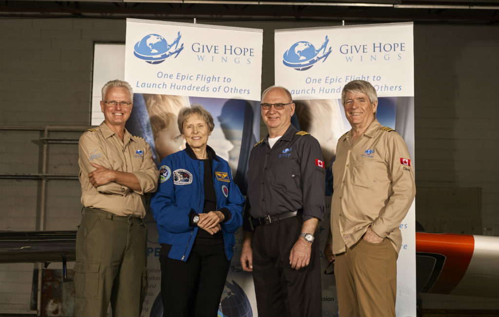 Retired Canadian astronaut Dr. Roberta Bondar, second from left, is the honourary patron for Give Hope Air. Stephen Caissie Photo