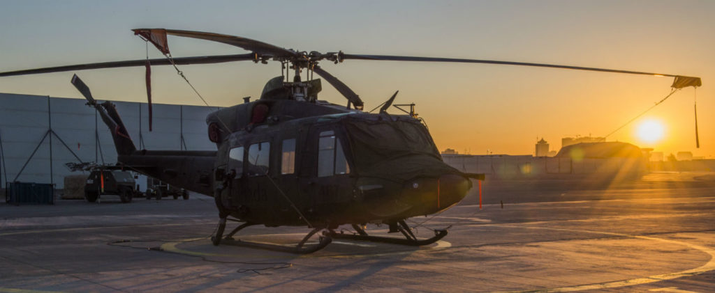 A CH-146 Griffon helicopter sits on the tarmac during Operation IMPACT in Northern Iraq on Nov.19, 2016. DND Photo