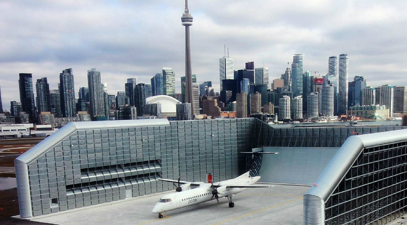 The new ground run-up enclosure at Billy Bishop Toronto City Airport.