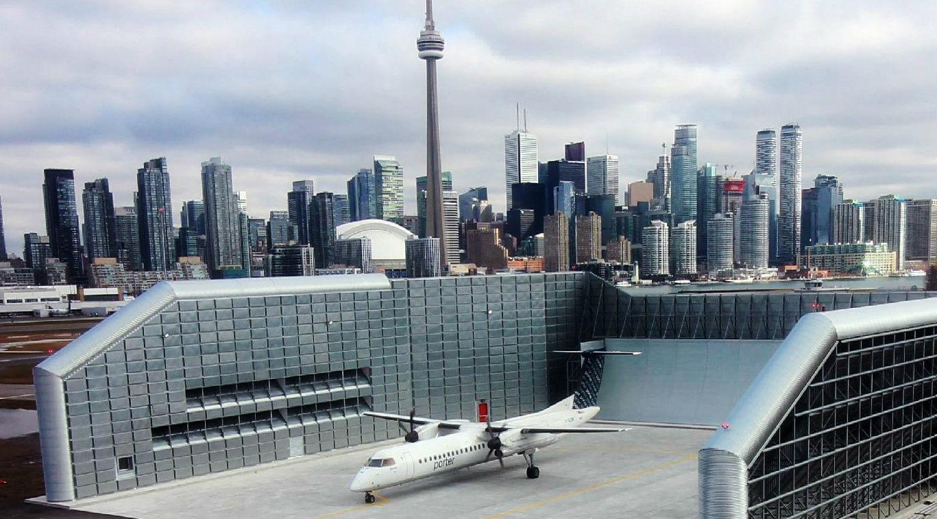 The new ground run-up enclosure at Billy Bishop Toronto City Airport.