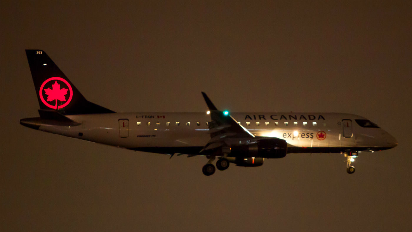 A Sky Regional ERJ175 arrives in Toronto from Montreal on April 10 on its first revenue flight on April 10. It is also the first Embraer to be adorned in the new Air Canada livery. Andy Cline Photo