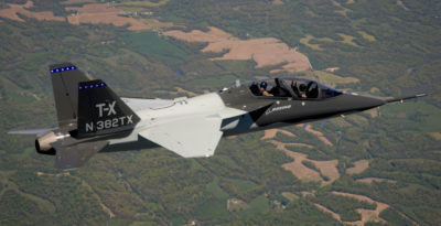 During the one-hour flight, lead T-X test pilot Steve Schmidt and Boeing test pilot for Air Force Programs Matt Giese validated key aspects of the aircraft and further demonstrated the low-risk and performance of the design, proving its repeatability in manufacturing. Boeing Photo