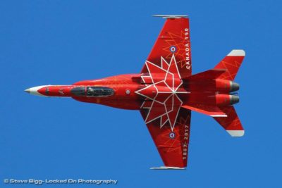 The 2017 CF-18 Demo Hornet showcases its special Canada 150 paint scheme. Photo submitted by Steve Bigg