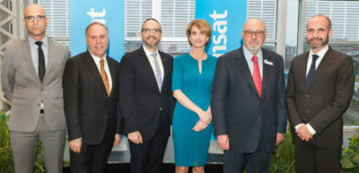 From left: Uri Steinberg, Consul and Israel Tourism Commissioner for North America; Philippe Rainville, president and CEO of Aéroports de Montréal; Lionel Perez, member of the Executive Committee of the City of Montreal; Annick Guérard, president, Transat Tours Canada; Jean-Marc Eustache, founder and president and CEO, Transat A.T. Inc.; and Ziv Nevo Kulman, Consul General of Israel and Permanent Representative to the International Civil Aviation Organization (ICAO). Transat A.T. Inc. Photo