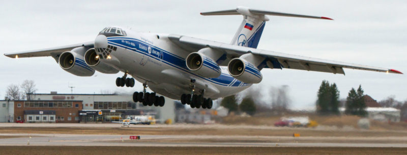 The heavy-laden IL-76 blasts off from North Bay ahead of a heavy weather front en route to Mary River on April 20.