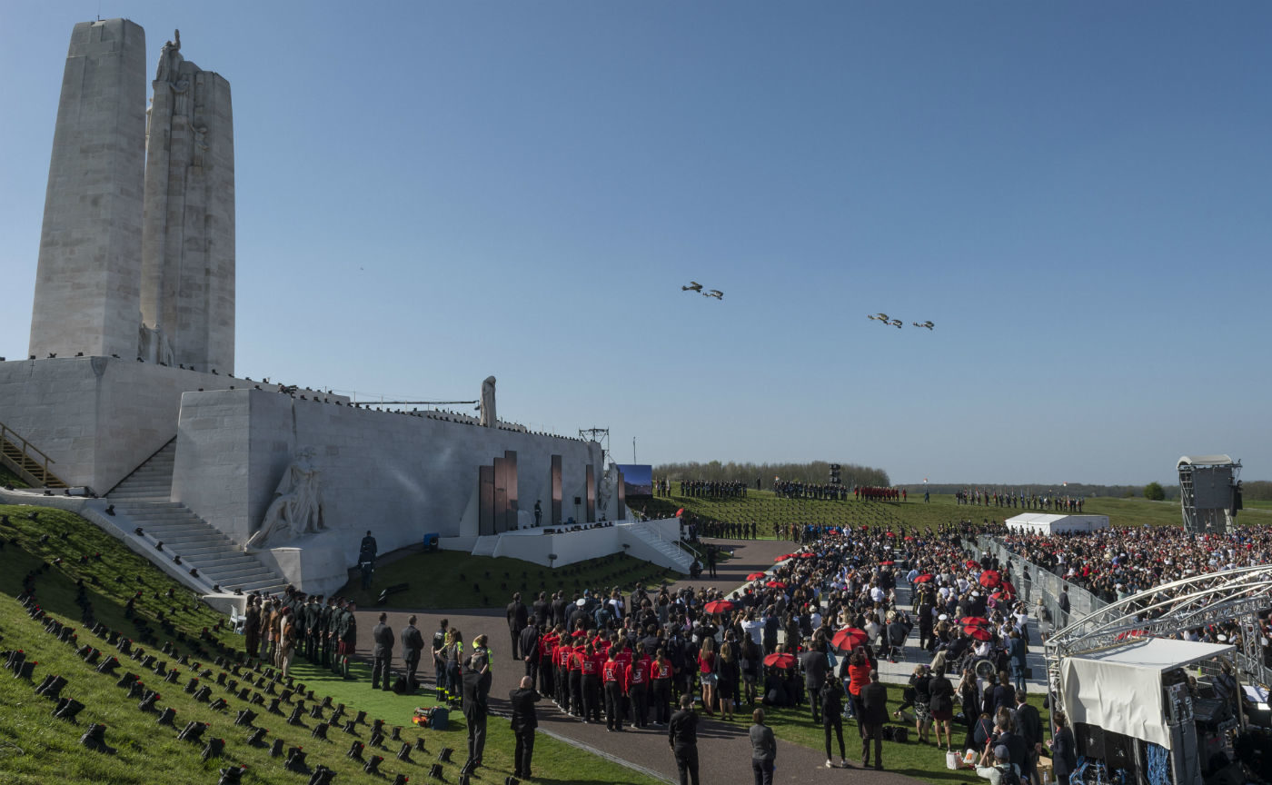 Five replica biplanes from Vimy Flight soar over the Vimy memorial in France on Sunday as part of a ceremony marking the 100th anniversary of the Battle of Vimy Ridge. RCAF Photo