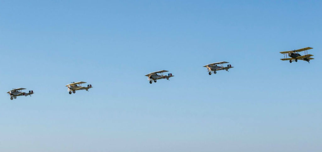 The replica biplanes return to an airfield after the Vimy ceremony. Vimy Flight Photo