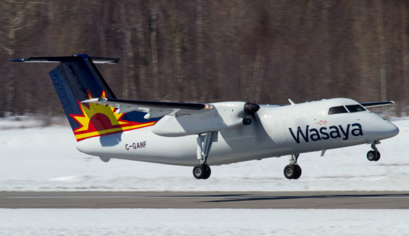 The dash-8-100PF has no cabin windows. The windows have been replaced by metal plugs for weight savings and to reduce maintenance costs. Andy Cline Photo