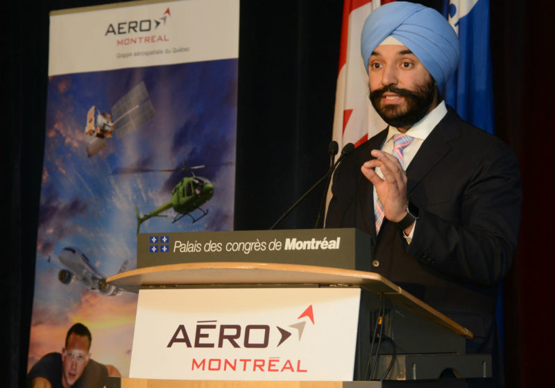 Navdeep Bains, Minister of Innovation, Science and Economic Development, spoke about the fixed-wing SAR award in Montreal on April 3 during International Aerospace Week. Aero Montreal Photo