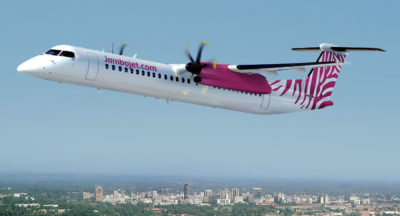 Jambojet is expected to take delivery of the first leased Q400 aircraft in May 2017, and the second aircraft later this year. Bombardier Photo