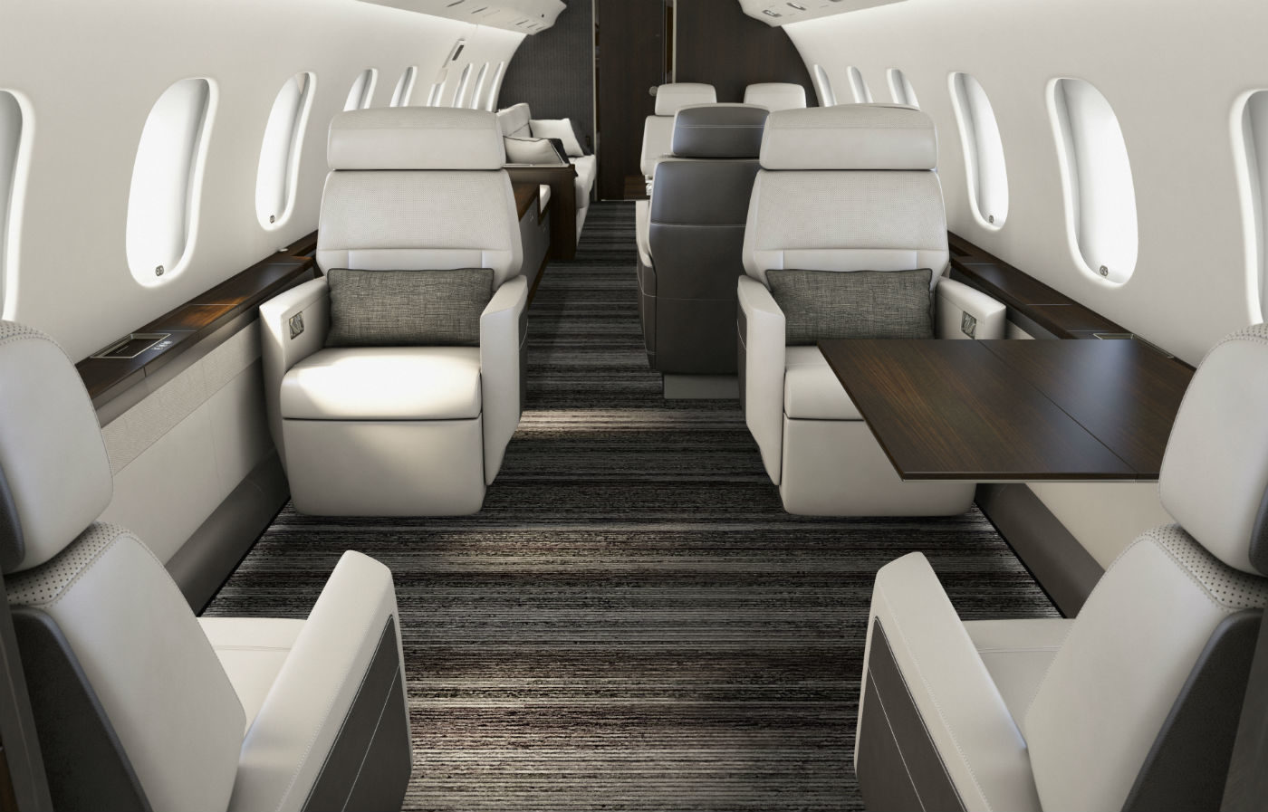 The new Premier cabin features architectural design and commonality with the entire Global family. Bombardier Photo