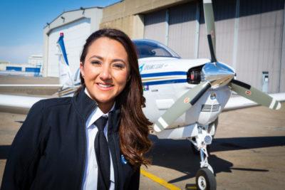 Shaesta Waiz stands with her airplane