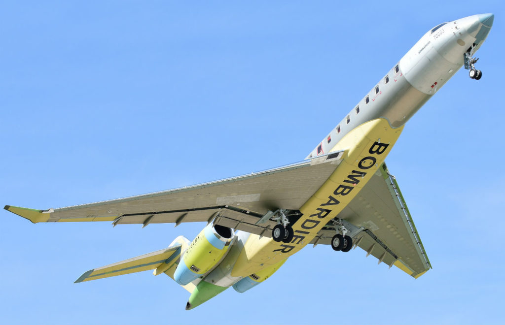 Bombardier's third flight test vehicle will join two Global 7000 test aircraft that are already flying. Bombardier Photo