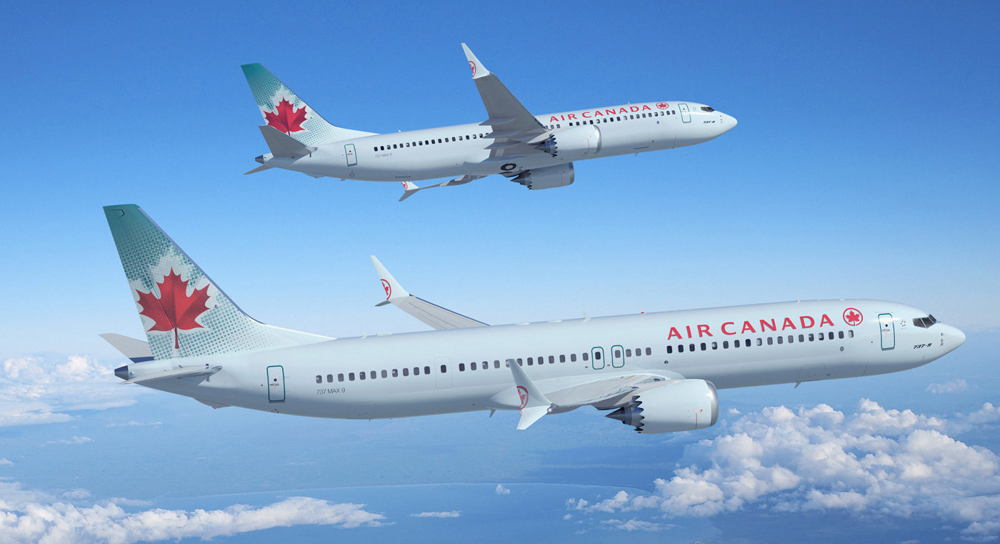 Two Air Canada planes in flight