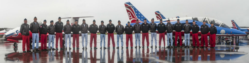 The featured acts of Aero 150 airshow were the aerobatics of the Snowbirds and the Patrouille de France, which last performed together in Canada 30 years ago. Members of the Snowbirds and Patrouille de France are pictured here in front of the teams' jets. Peter Handley Photo