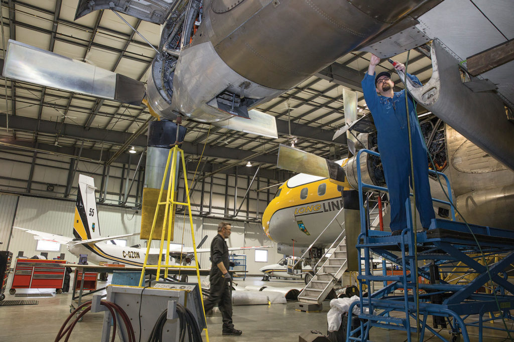The Air Spray hangar in Red Deer, Alta., was a beehive of activity in April as the company prepared for fire season. Dwight Arthur - Photek Photo