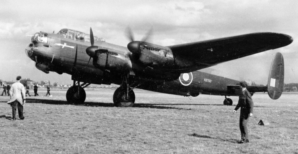 The Ruhr Express arrives in the United Kingdom on Sept. 17, 1943. A crew of seven transported the aircraft, headed by Royal Canadian Air Force squadron leader Reg Lane. CANAV Books Photo