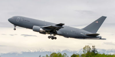 The newest KC-46 aerial refueling aircraft, the second low-rate initial production plane, completed its first flight April 29. Boeing Photo