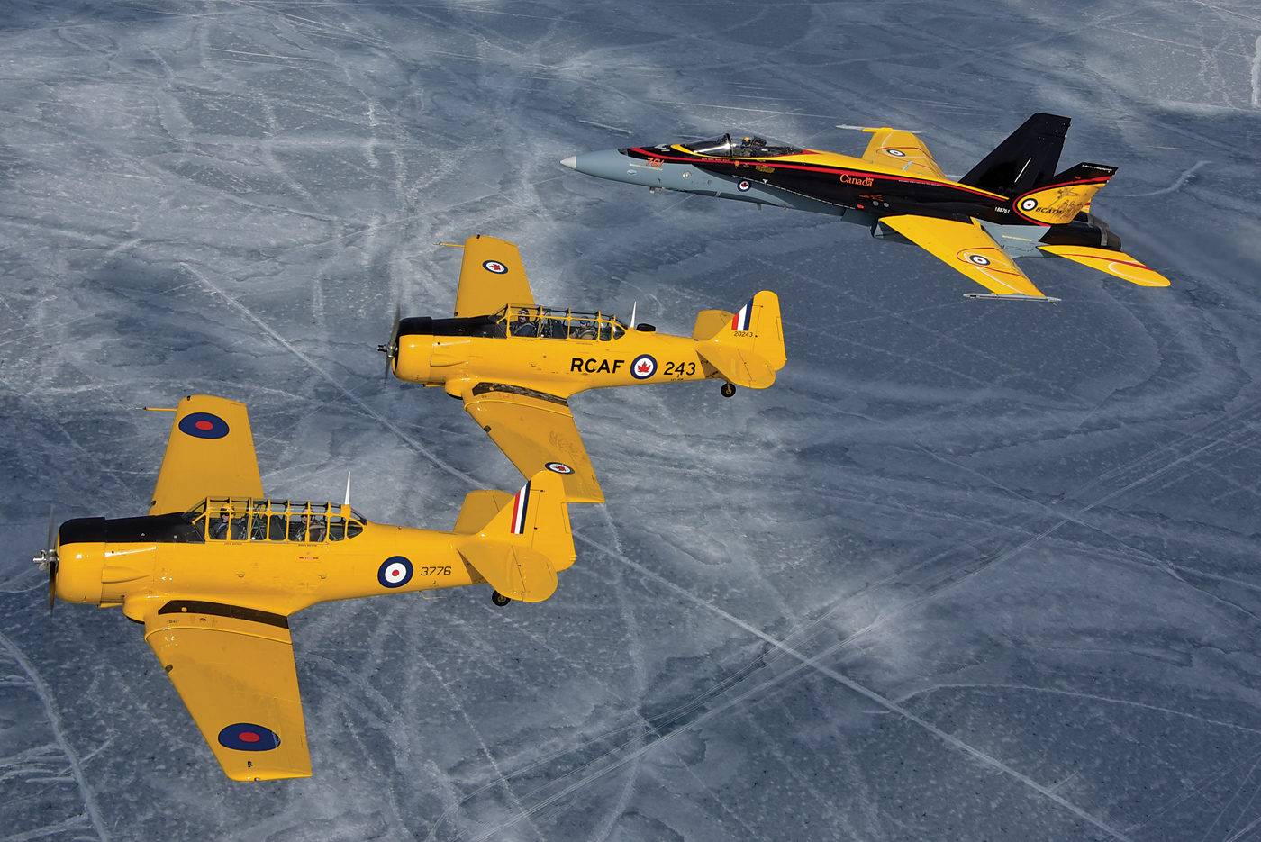 North American Harvard Mk IV aircraft, pictured here with the 2016 RCAF Demo Hornet, will take part in several sesquicentennial events this year. Mike Reyno Photo