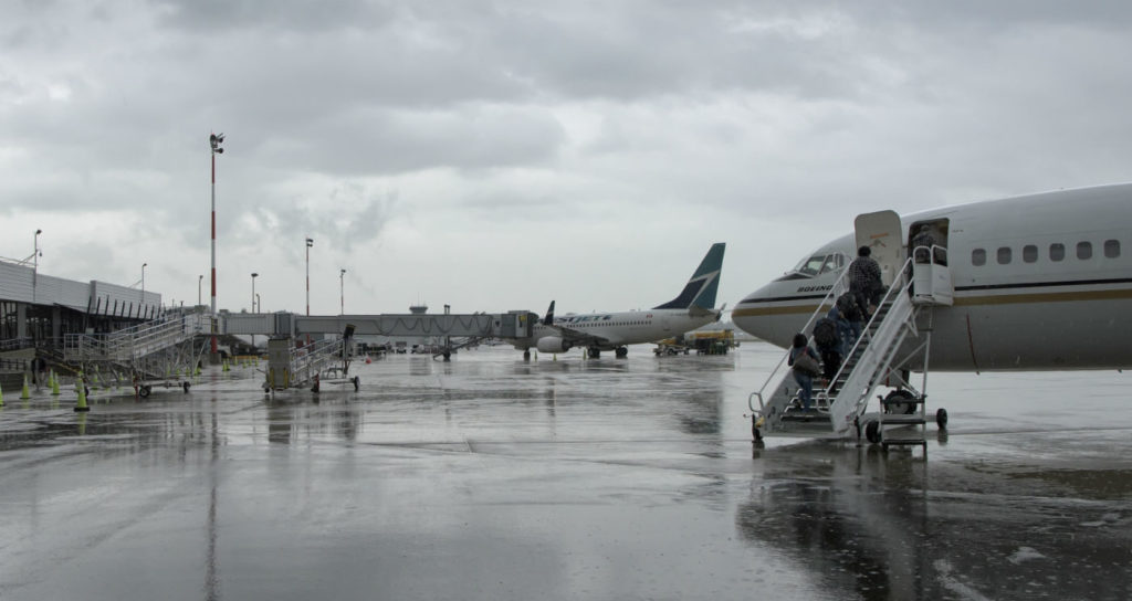 WestJet (background) and NewLeaf Travel (foreground) both see Abbotsford as a key destination, with frequent flights in and out of the airport. Mike Luedey Photo
