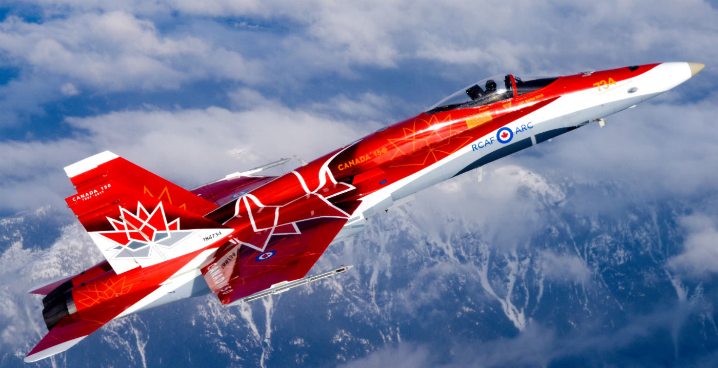 This year's CF-18 Demo is decorated in a striking paint scheme based on the official Canada 150 logo. The Demo plays an essential role representing Canada's military to the public as our country celebrates Canada's 150th. Mike Reyno Photo