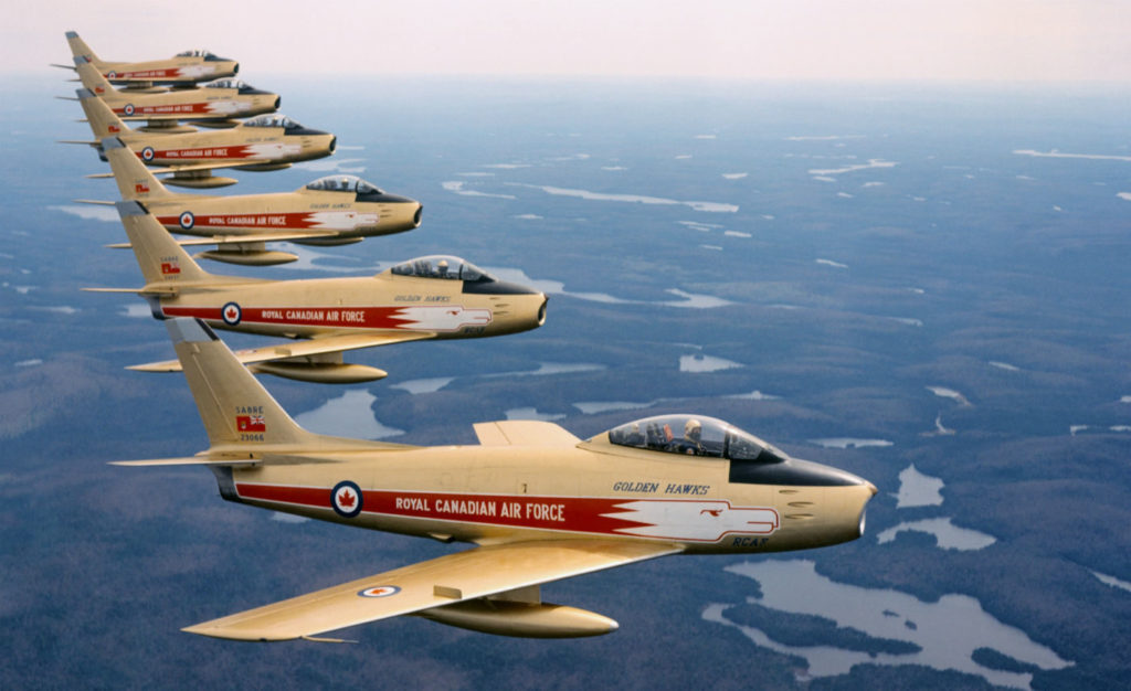 Dressed in eye-catching regal gold-and-red livery, Golden Hawks pilots flew Canadian-built Canadair F-86 Sabre Mk V and Mk VI aircraft, the dominant Western jet fighters of the 1950s. New Brunswick Aviation Museum Photo