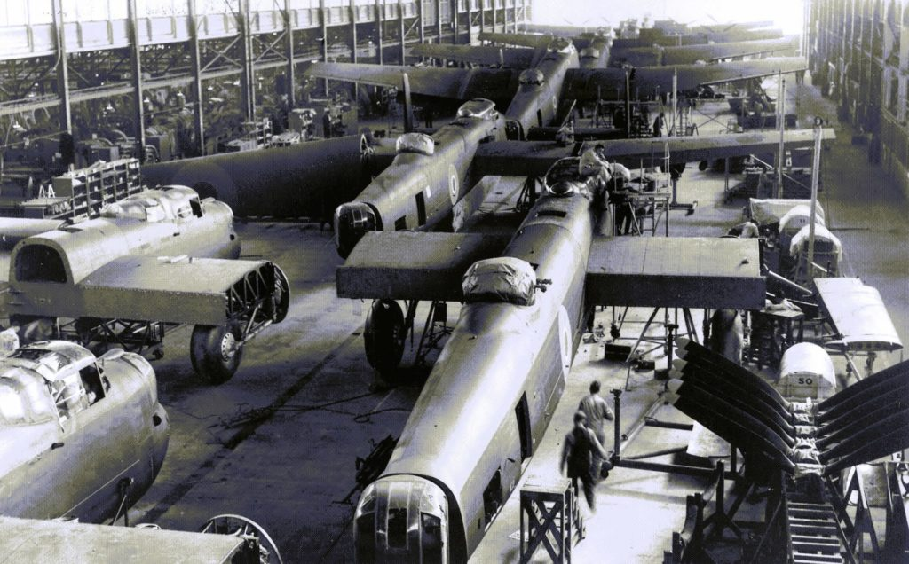 Several Canadian Lancasters sit on the factory floor at Victory Aircraft in Malton, Ont. Canadian Warplane Heritage Museum Photo