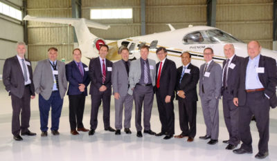 From left: Len O'Connor, airport manager, Niagara District Airport; Chris Wood, airport general manager, Region of Waterloo International Airport; Michael Drumm, airport general manager, Lake Simcoe Regional Airport; Gene Cabral, executive vice-president, Billy Bishop Toronto City Airport; Trent Gervais, airport manager, Peterborough Airport; Michael Seabrook, president and CEO, London International Airport; Howard Eng, president and CEO, GTAA; Vijay Bathija, chief executive officer, John C. Munro Hamilton International Airport; Stephen Wilcox, airport manager, Oshawa Municipal Airport; Jim McCormack, director of finance, Windsor International Airport; and David Snow, airport manager, Kingston/Norman Rogers Airport. Martin Lamprecht Photo