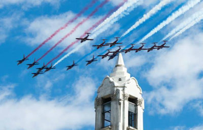La Patrouille de France and the Canadian Forces Snowbirds soar over the clock tower in the Old Port of Montreal on May 2, 2017. Photo submitted by Jean-Pierre Bonin‎
