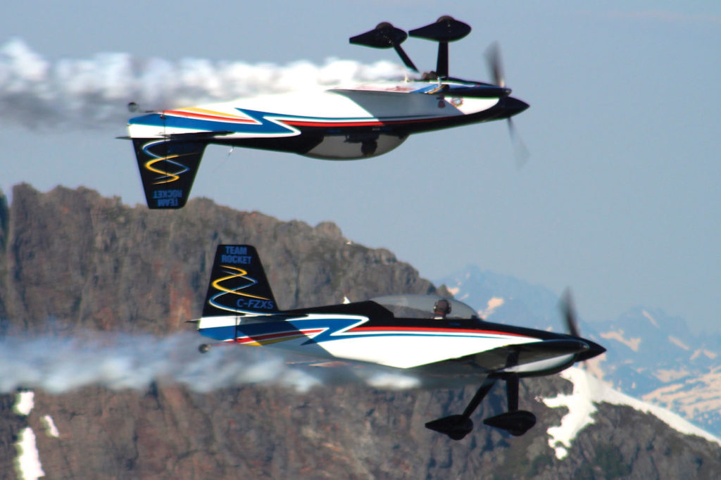 Team Rocket, an aerobatic duo made up of Ken Fowler from Rocky Mountain House, Alta., and Eric Hansen from Cold Lake, Alta., will participate in all stops on the Canadian Arctic Aviation Tour. Ken Fowler Photo