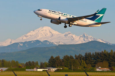 WestJet takes off at Abbotsford International Airport. WestJet Photo